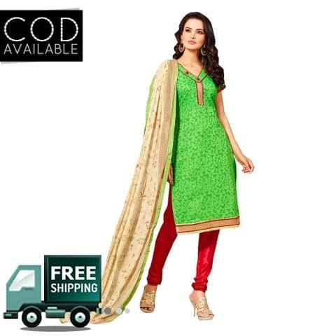 Ps Enterprise Green Chanderi Unstitched Dress Material