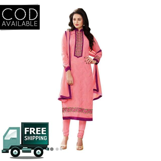 Ps Enterprise Pink Faux Georgette Semi-Stitched Dress Material