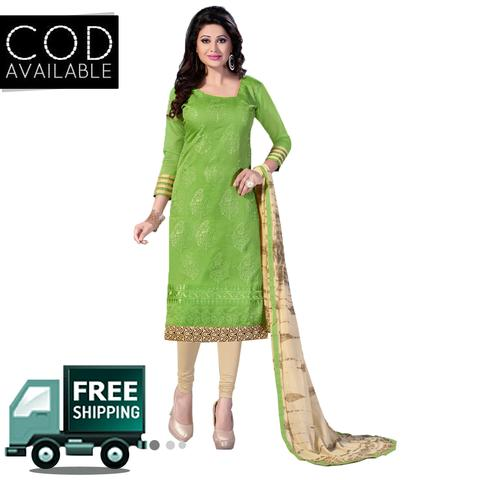 Ps Enterprise Chanderi Cotton Unstitched Dress Material