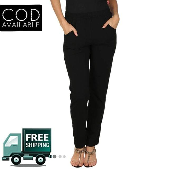 Adam N' Eve Viscose Cotton Black Track Pant