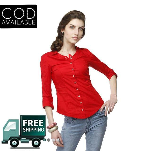 Adam N' Eve Red Corporate Cotton Shirt With Swarovski Crystal Logo