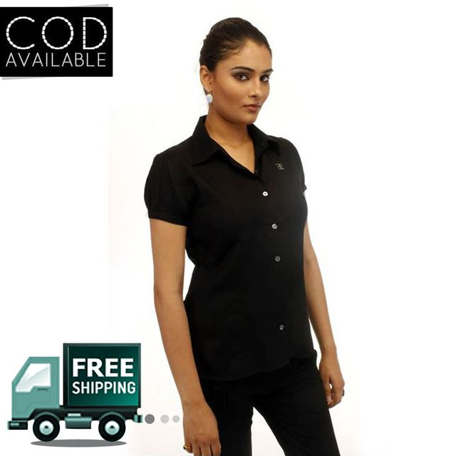 Adam N' Eve Girl's Z Black Corporate Shirt With Swarovski Crystal Logo