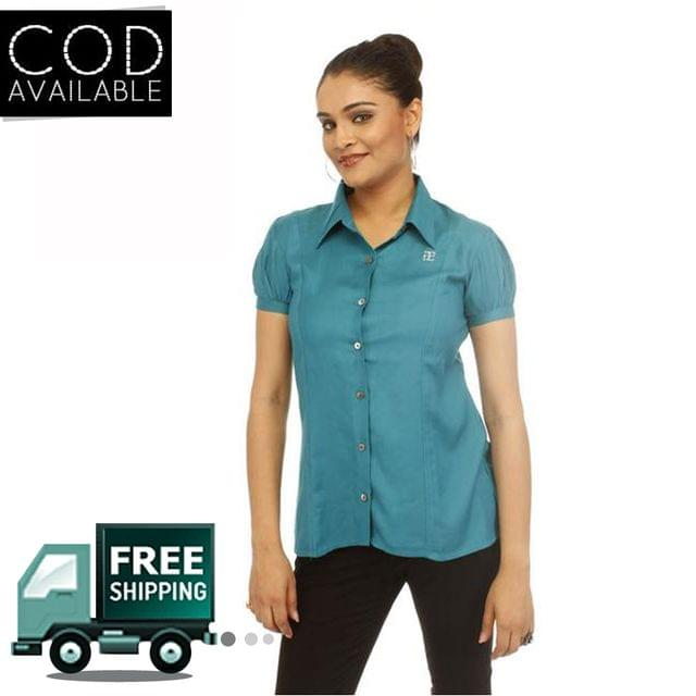 Adam N' Eve Girl's Turquoise Formal Shirt With Swarovski Crystal Logo