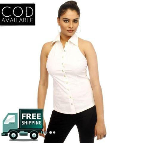 Adam N' Eve Halter Neck Cotton Stretch White Shirt