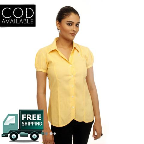 Adam N' Eve Girl's Yellow Formal Shirt With Swarovski Crystal Logo