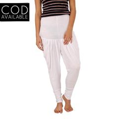 SLS White Cotton Lycra Regular Fit Women's Dhoti