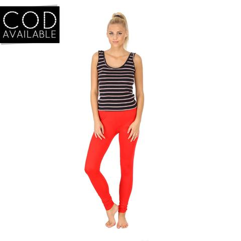 SLS Red Cotton Lycra Slim Fit Women's Leggings