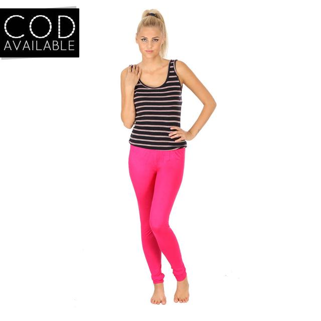 SLS Pink Cotton Lycra Slim Fit Women's Leggings