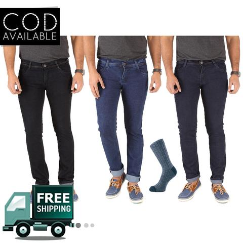 SLS Pack of 3 Denim With 1 Pair Of Assorted Socks Free