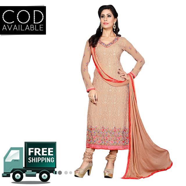 Ethnic Basket Semi Stitched Georgette Straight Cut Salwar Kameez