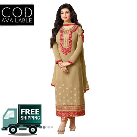 Ethnic Basket Beige Semi Stitched Georgette Straight Cut Salwar Kameez