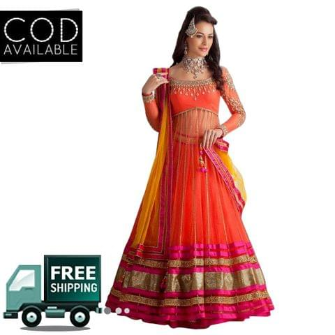 Ethnic Basket Orange & Pink Semi Stitched Net Anarkali Lehenga Choli