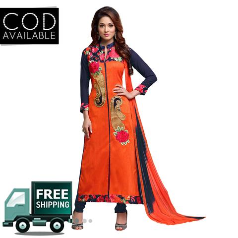 Ethnic Basket Orange Party Wear Straight Cut Salwar Kameez