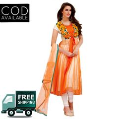 Ethnic Basket Orange Party Wear Anarkali Salwar Kameez