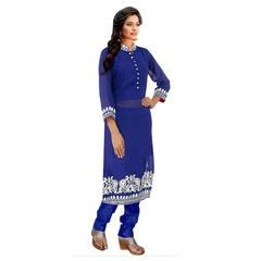Ethnic Basket Blue Party Wear Straight Cut Salwar Kameez