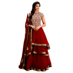 Ethnic Basket Red Party Wear Anarkali Salwar Kameez