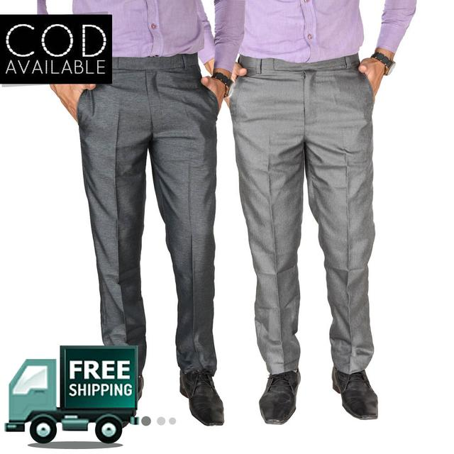 SLS Combo of 2 Cotton Blend Regular Fit Formal Men's Trouser