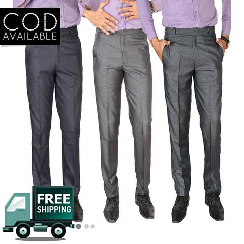 SLS Combo of 3 Cotton Blend Regular Fit Formal Men's Trouser