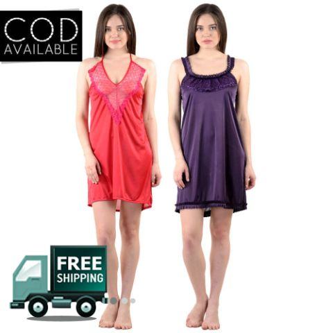 American-Elm Pack of 2 Women's Stylish Sexy Nighty