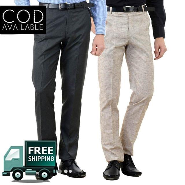 American-Elm Men's Cotton Formal Trousers-Pack of 2