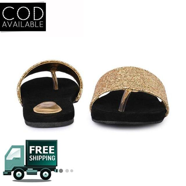 La-Juliana Women's Black & Golden Comfortable Slippers