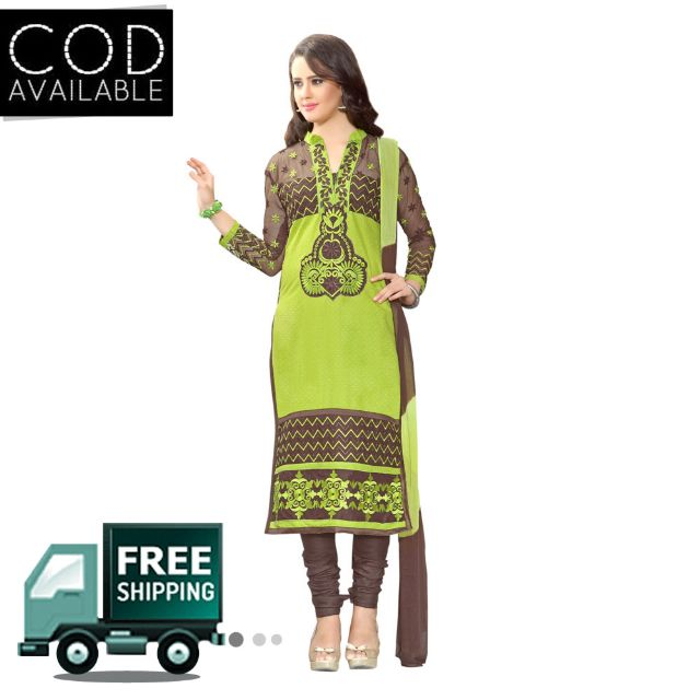 Sancom Green & Brown Color Straight Cut Salwar Kameez