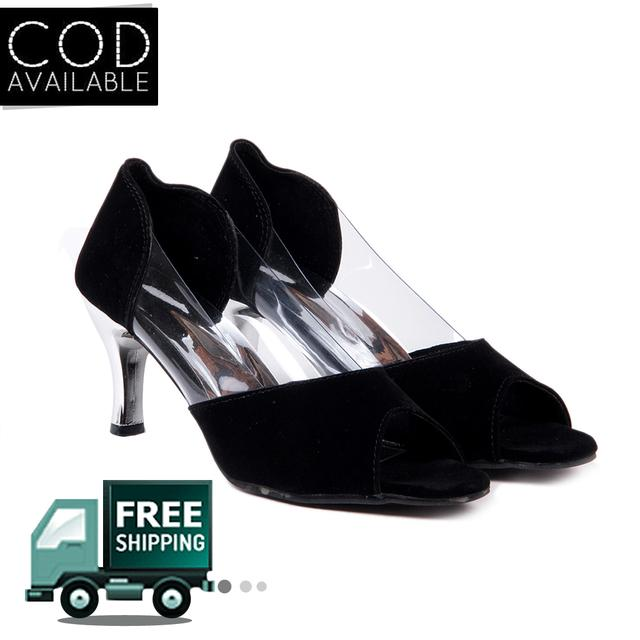 Ten Women's Black Suede Heeled Pumps