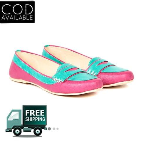 Ten Women's Pink & Turquoise Synthetic Leather Loafers