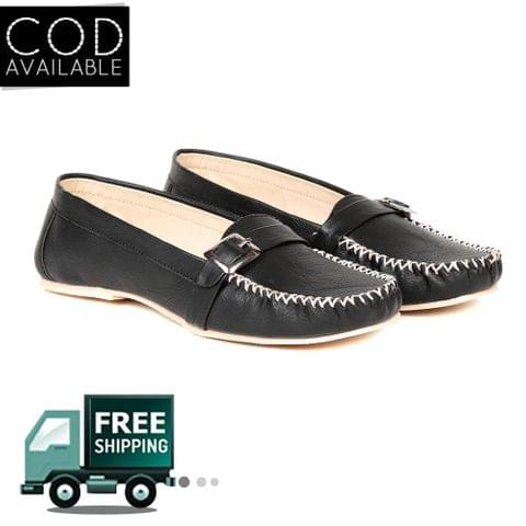 Ten Women's Black Synthetic Leather Loafers