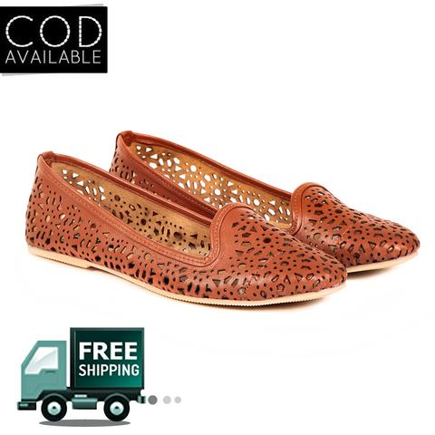Ten Women's Brown Synthetic Leather Moccasin