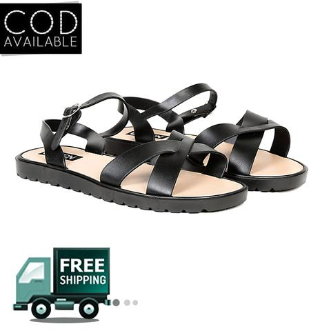 Ten Women's Black Pvc Sandals