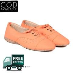 Ten Women's Orange Synthetic Leather Casual Shoes
