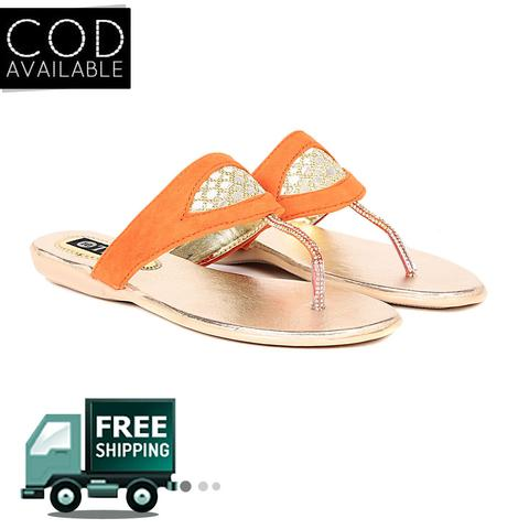 Ten Women's Orange Suede Sandals