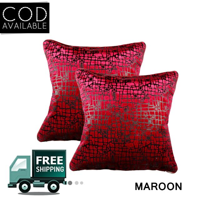 Rotomax Set of 2 Pcs Velvet Cushion Cover of 16 x 16 Inches