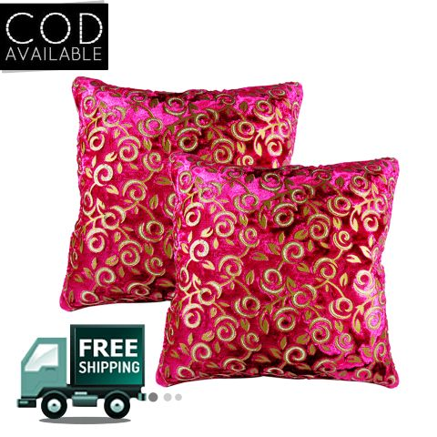 Rotomax Set of 2 Pcs Velvet Pink Cushion Cover of 16 x 16 Inches