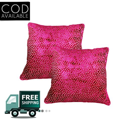 Rotomax Set of 2 Pcs Velvet Pink Cushion Cover of 12 x 12 Inches