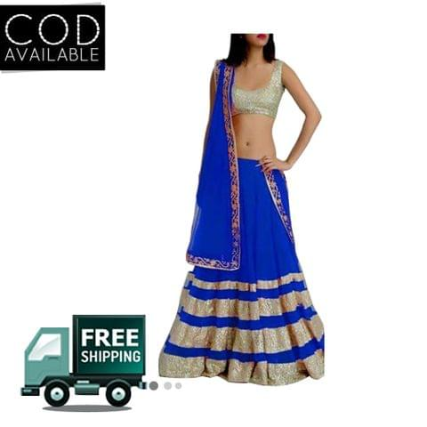 Sellective Blue Color Net Lehenga