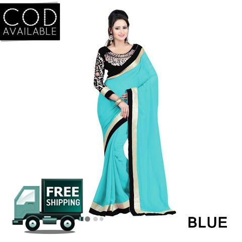 Sellective Faux Georgette Lace Work Saree