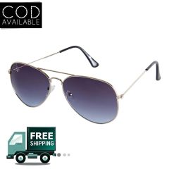Rinoto Golden Blue Aviator Sunglass
