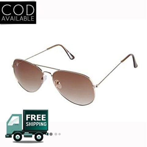 Rinoto Golden Brown Aviator Sunglass