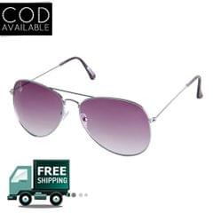 Rinoto Silver Purple Aviator Sunglass