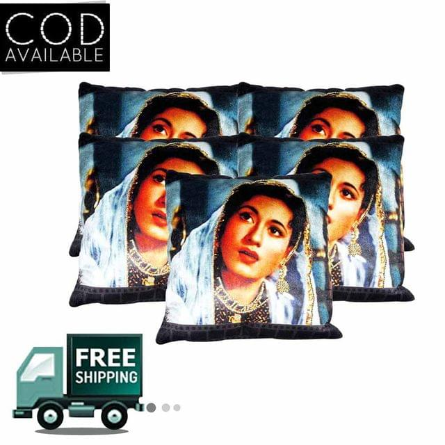 Rotomax Set of 5 Pcs Velvet Cushion Cover of 16 x 16 Inches