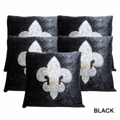 Rotomax Set of 5 Pcs Velvet Cushion Cover of 12 x 12 Inches