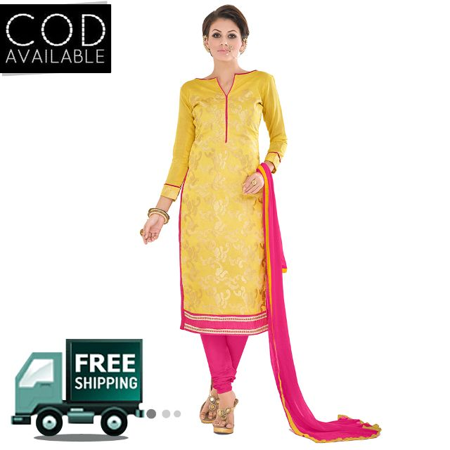 Sancom Yellow Color Chanderi Dress Material
