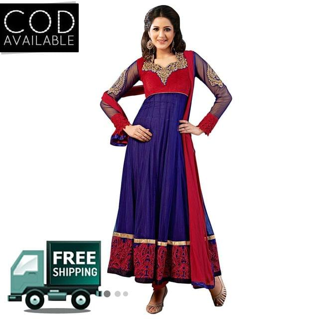 Sancom Blue-Red Color Net Anarkali Salwar Kameez