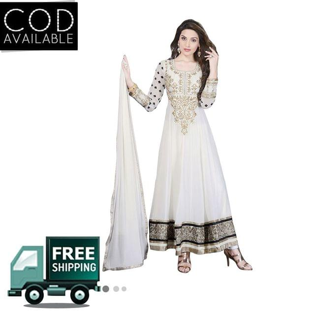 Sancom White Color Georgette Anarkali Salwar Kameez