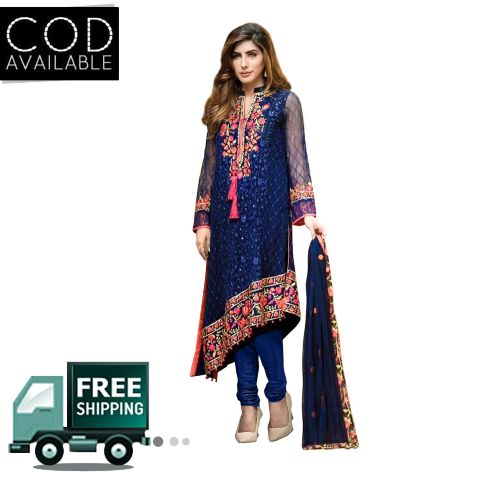 Ethnic Basket Blue Semi Stitched Straight Cut Salwar Suit