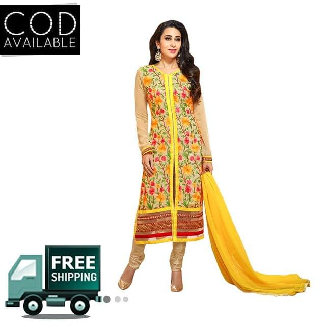 Ethnic Basket Yellow Semi Stitched Straight Cut Salwar Suit