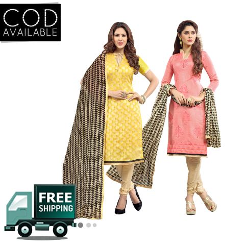 Ethnic Basket Combo of 2 Kurtis(Unstitched), 1 Bottom & 1 Dupatta