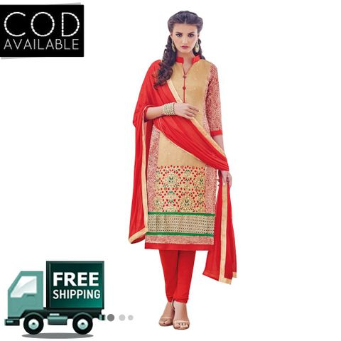 PS Enterprise Chanderi Cotton Cream-Red Semi Stitched Suit